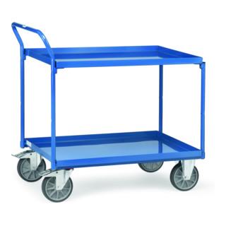 Tischwagen mit Wannen mit 2 Böden aus Blechwannen, Griff hochstehend, TPE-Bereifung