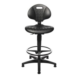Topstar Arbeitsdrehstuhl Tec 20 Bodengleiter+Fußring Polyurethanschaum schwarz 590-840mm