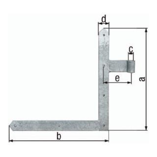 Tor-Winkelband B.40mm L.400 x 400mm STA TZN spitz GAH