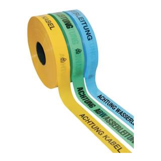 Trassenwarnband Aufdruck Achtung Glasfaserkabel B.40mm L.250m gelb