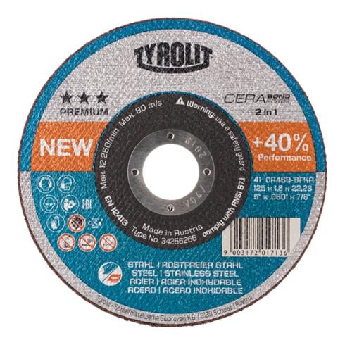 Trennscheibe CERABOND 2in1 D125x1mm ger.INOX/Stahl Bohr.22,23mm TYROLIT