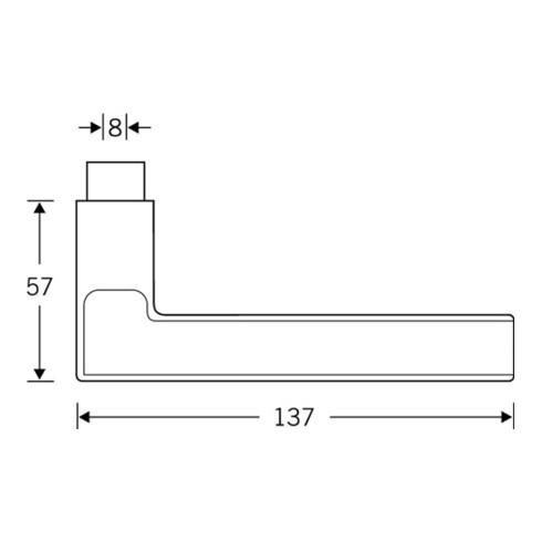 Türdrückerlochteil 10 1035 VA 6204 8mm DIN L/R FSB