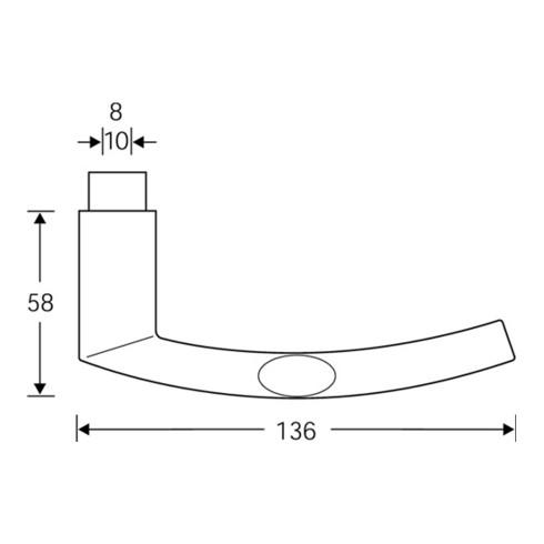 Türdrückerlochteil 10 1107 Alu.0105 8mm DIN L/R FSB