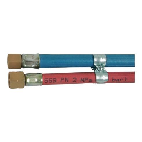 Tuyau de gaz L. 15 m D. int. 6,3 / 8 mm épaisseur du mur 5 / 3,5 mm rouge / bleu