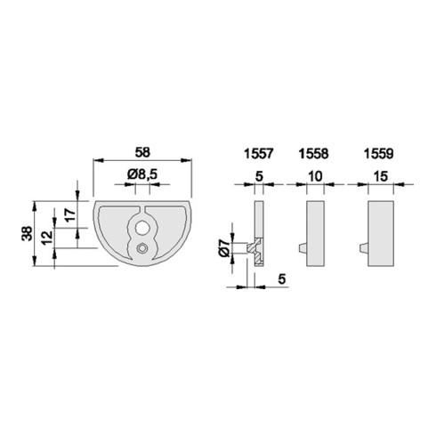 Unterlage LM. silberf. elox. D.58mm H.15mm f. Art. 3000258199 KWS