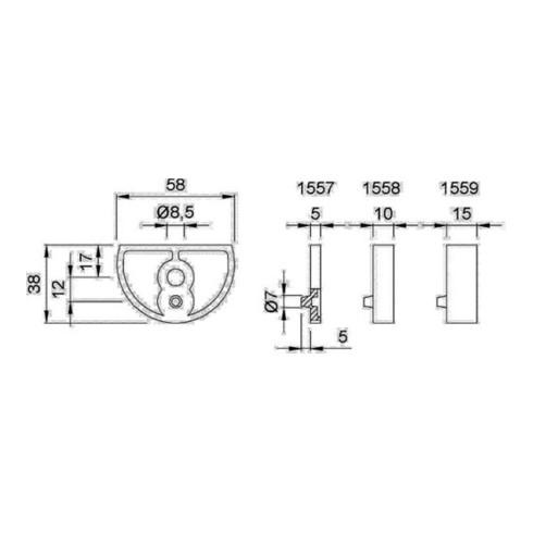 Unterlage LM. silberf. elox. D.58mm H.5mm f. Art. 3000258199 KWS