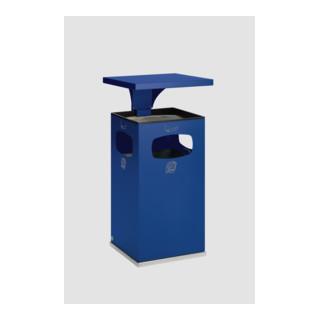 VAR Abfallsammler/Ascher B 42 mit Schutzdach inkl. Inneneinsatz enzianblau 72 l