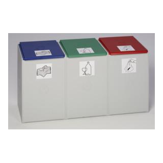 VAR Kunststoffcontainer 3-fach ohne Deckel 180 l