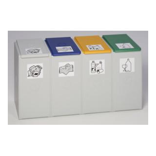 VAR Kunststoffcontainer 4-fach ohne Deckel 40 l