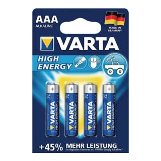 Varta Batterie Alkaline High Energy 1,5 V AAA-AM4-Micro 1260 mAh LR03 4903 4 St./Bl.