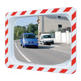 Verkehrsspiegel H400xB600mm Ku.rot/weiß m.Halterung innen/außen