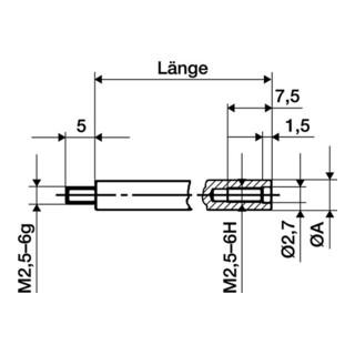 Verlängerungsstück L.50mm Messbolzen-D.4mm f. Messuhren Käfer