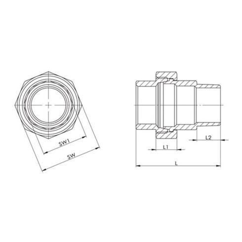 Verschraubung EN 10226-1 NPS 3/8 Zoll fl.dichtend 45mm 12,5mm 12,5mm SPRINGER