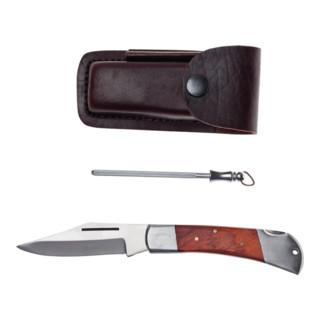 Vielzweckmesser Gesamt-L.190mm Klingen-L.85mm Leder-Gürteletui m.Holzheft