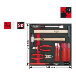 Vigor 2/3 Weichschaumeinlage Hammer, Zangen, Meißel-Satz, 15teilig