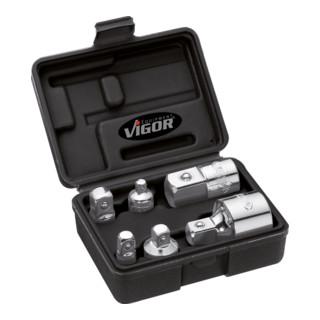 VIGOR Adapter Satz V1293 Vierkant hohl 6,3 mm (1/4 Zoll) Vierkant hohl 10 mm (3/8 Zoll) Vierkant hohl 12,5 mm (1/2 Zoll) Vierkant hohl 20 mm (3/4 Zoll) Vierkant massiv 6,3 mm (1/4 Zoll) Vierkant massiv 10 mm