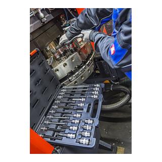 VIGOR Innenvierkant Antrieb 12,5 = 1/2 Zoll Innenvielzahn Schraubendreher-Einsatz-Sortiment (XZN) V1918 Vierkant hohl 12,5 mm (1/2 Zoll) Innen Vielzahn Profil XZN - Anzahl Werkzeuge: 26