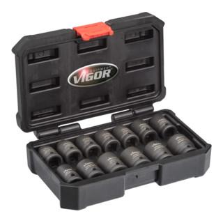 VIGOR Kraft-Steckschlüssel-Einsatz-Sortiment, kurz V5550S Vierkant hohl 12,5 mm (1/2 Zoll) Außen-Sechskant Profil Anzahl Werkzeuge: 13