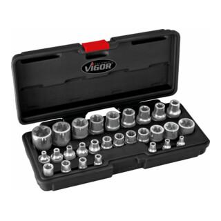 VIGOR TORX Steckschlüssel-Satz V2687 Vierkant hohl 6,3 mm (1/4 Zoll), Vierkant hohl 10 mm (3/8 Zoll), Vierkant hohl 12,5 mm (1/2 Zoll) Außen TORX Profil - Anzahl Werkzeuge: 28
