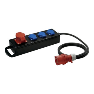 Vollgummiverteiler H07RN-F5x2,5mm2 L.2m Eing.1xCEE 16A Ausg.1xCEE 16A IP54