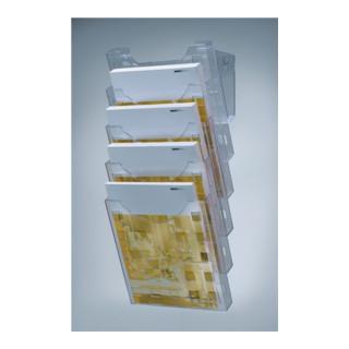 Wandprospekthalter 5Fächer DIN A4 hoch Ku. transparent Wandmontage