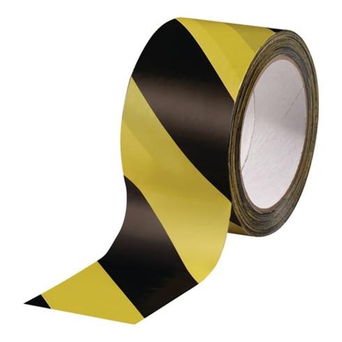 Warnmarkierungsband PVC schwarz/gelb L.66m B.60mm Rl.