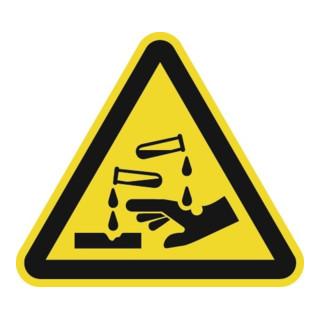 Warnzeichen ASR A1.3/DIN EN ISO 7010 200mm Ätzende Stoffe Folie