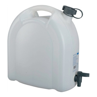 Wasserkanister 15L weiß stapelbar PE m. Ablasshahn