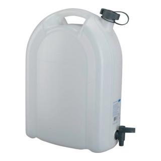 Wasserkanister 20L weiß stapelbar PE + Ablasshahn