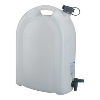 Wasserkanister 20L weiß stapelbar PE mit Ablasshahn