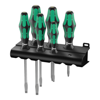 Wera 334 SK/6 Rack Schraubendrehersatz Kraftform Plus Lasertip + Rack, 6-teilig