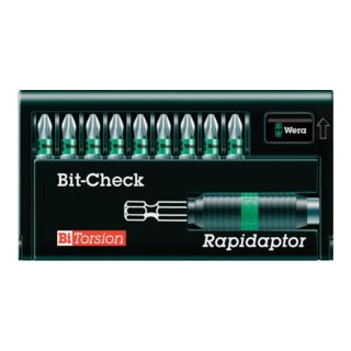 Wera 8755-9/BTZ Bit-Check – Rapidaptor, 1 BiTorsion Halter mit 9 BiTorsions Bits