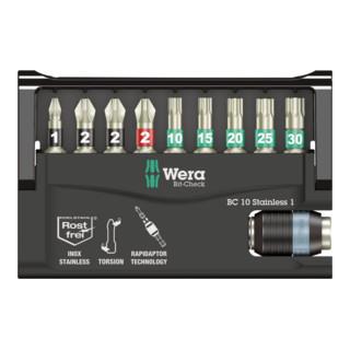 Wera BC 10/9 Bit-Check, 1 Edelstahl-Bit-Halter und 9 Edelstahl Bits