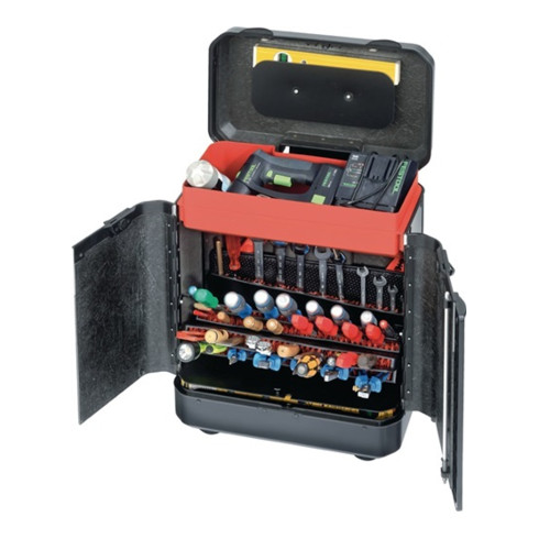 Werkzeugkoffer 450x260x550mm rollbar m. CP-7 Werkzeughaltern Türenversion