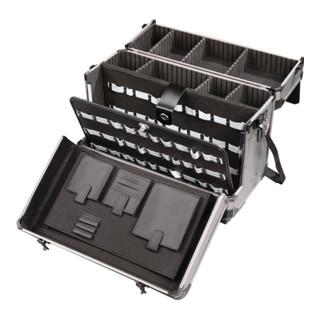 Werkzeugkoffer Alu, 490x245x355mm, mobil mit 2-teiligem Deckel, abschließbar