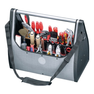 Werkzeugtasche B.495xT.250xH.395mm m.Tragestange silber 2xCP-7Halter D.11mm+26mm