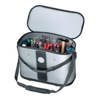 Werkzeugtasche B.500xT.255xH.360mm m. herausnehmb. Mittelwand Gr.XL silber