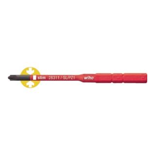Wiha SoftFinish® electric slimBit für Plus-Minus Klemmschrauben (Schlitz/ Pozidriv) (2831-14) SL/PZ1 75 mm 6,0 mm