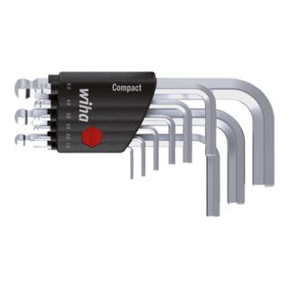 Wiha Stiftschlüssel Set im Compact Halter Sechskant-Kugelkopf 9-tlg. kurz, mattverchromt