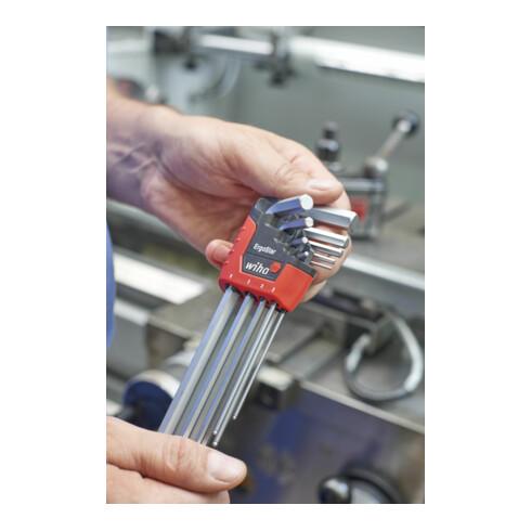 Wiha Stiftschlüssel Set im ErgoStar Halter Sechskant-Kugelkopf MagicRing 9-tlg. mattverchromt in Blister (43851)