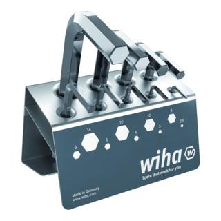 Wiha Stiftschlüssel Set Sechskant 9-tlg. kurz, glanzvernickelt im Werkbankständer