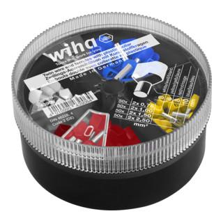 Wiha Zwillings-Aderendhülsen mit Kunststoffkragen Set 0,75 - 2,50 mm² Farbcode 2 in Streudose