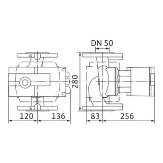 Wilo Hocheffizienzpumpe Stratos mit Flanschanschluss Typ 50/1-12, DN 50, 280 mm, PN 6/10