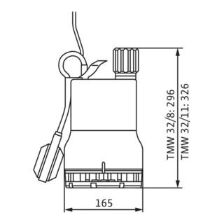 Wilo Schmutzwasser-Tauchmotorpumpe Drain TMW 32/8, 3 m Kabel, 0,37 kW