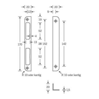 Winkelschließbl.Alu.silber Winkel B.20xL.170mm rd.Schenkelbreite 8mm DIN L/R