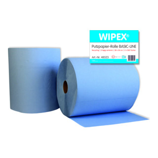 Wipex Basic Line Putzpapier Rollen 3-lagig, blau, 38x36 cm, 2*500 Blatt
