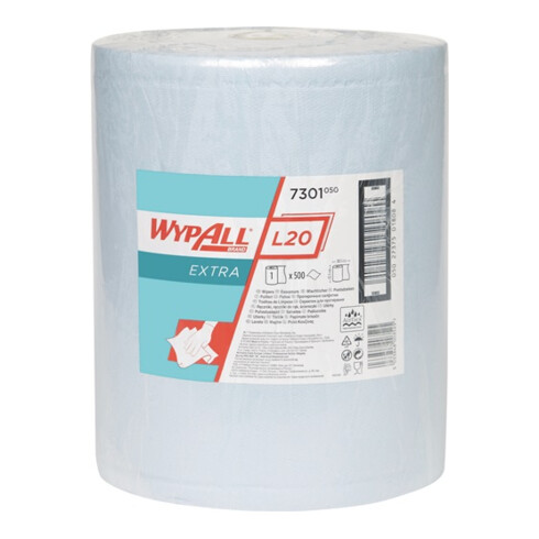 Wischtuch WYPALL L20 7301 L385xB325ca.mm blau 2-lagig 500 Tü./Rl.