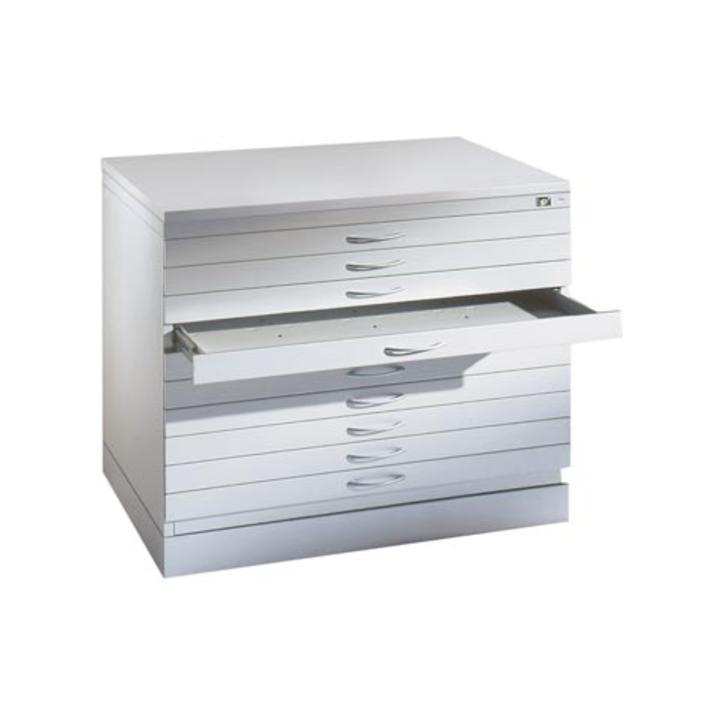 Zeichnungsschrank,DIN A0, BxTxH 1350x960x420 mm, 5 Schubladen, einfarbig, RAL 7035 lichtgrau