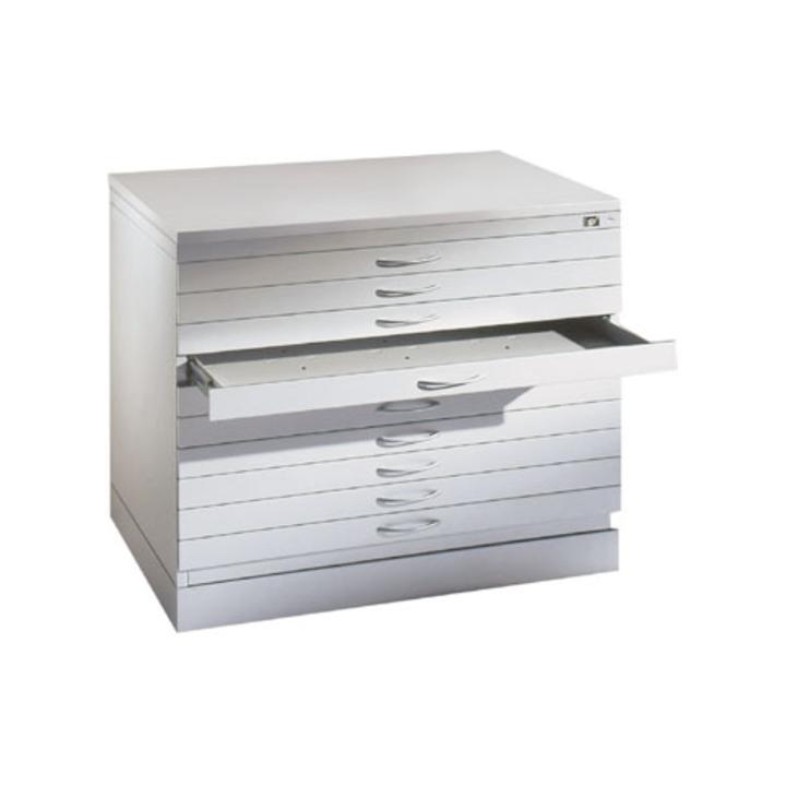 Zeichnungsschrank,DIN A0, BxTxH 1350x960x760 mm, 10 Schubladen, einfarbig, RAL 7035 lichtgrau