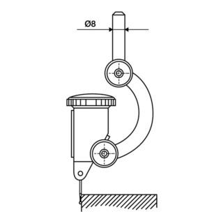 Zentrierhalter FH 8 Aufnahmebohrung-D.4mm H7 Schaft-D.8mm h6 Käfer